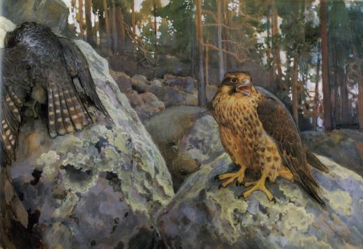 Э. Н. Ярнефельт. Два ястреба в лесу. 1895. Государственный Эрмитаж.
