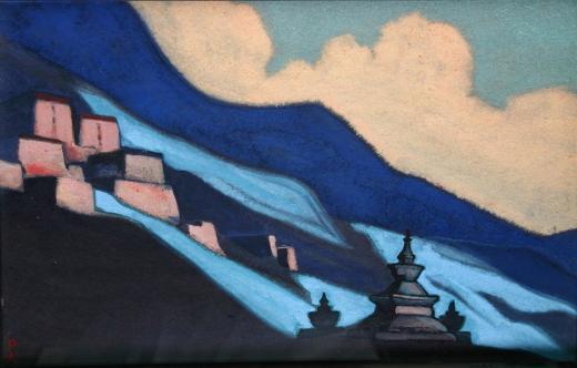 Н.К. Рерих. Тибет. 1943. Картон. Темпера. Санкт-Петербургский государственный Му