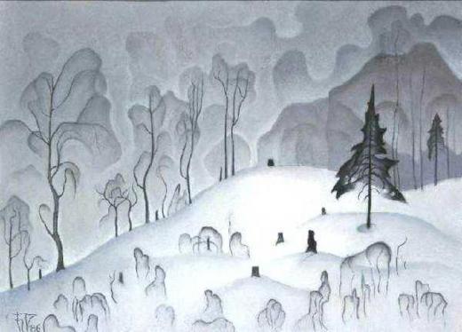 Б. А. Смирнов-Русецкий. Белое и чёрное. Зимний пейзаж. 1967. Цикл «Прозрачность»